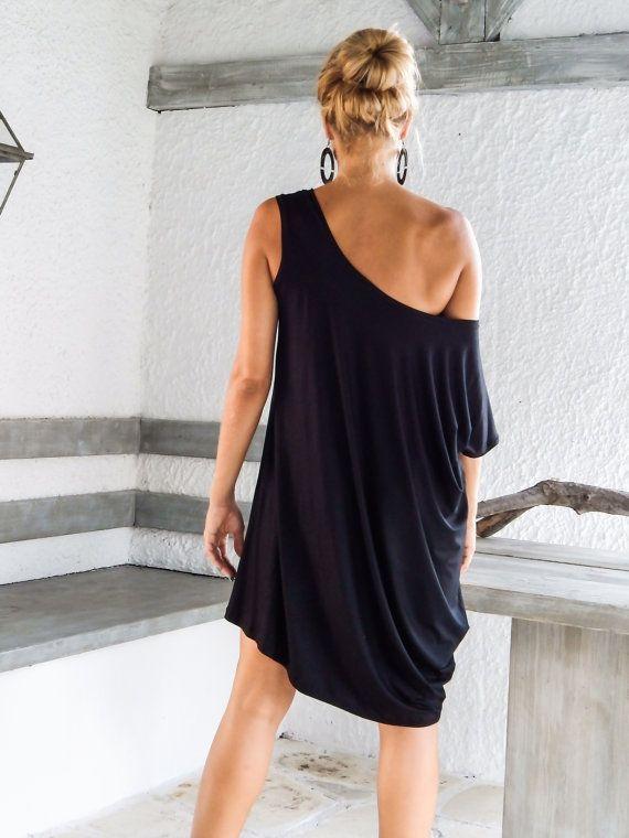 Negro vestido asimétrico  blusa  túnica / Plus tamaño