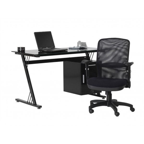 Black Glass Computer Workstation by Alphason - Dimensions: Width-130cm Depth-65cm Height-76cm Features and Functionality: Painted Black Glass Top Black Steel Frame 1 Storage Cupboard 1 Drawers