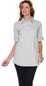 Joan Rivers Classics Collection As Is Joan Rivers Denim Boyfriend Shirt with Scoop Pockets