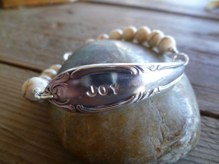 """JOY! Armbånd lagd av skaftet av en gammel t skje og Hvit """"manmade"""" turkis. www.epla.no/shops/byjanem/ Facebook.com/ByJaneM/  Bracelets made from the shaft of an old spoon."""
