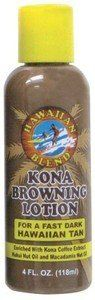 Hawaiian Blend Kona Browning Lotion 4 oz. by Buns of Maui. $8.98. Hawaiian Bath & Body products make a great gift for that special someone!. Our island style Kona Browning Lotion combines the best in Hawaiian tanning ingredients with Kona Coffee extract and a blend of other exotic oils, vitamins, natural protectants and moisturizers. Helps promote a fast deep dark Hawaiian tan using no stains or dyes.