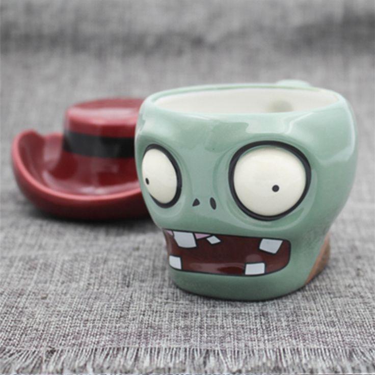 ceramic Plants Zombies Cartoon Mug personalized 3D Skull coffee Mug Milk Tea Bottle Office Birthday Gift Bar Beer jar Handle Cup