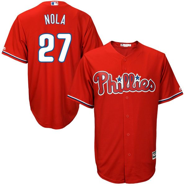 Aaron Nola Philadelphia Phillies Majestic Official Cool Base Player Jersey - Scarlet - $119.99