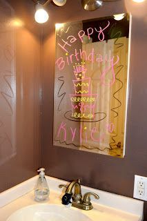 Fun to do on Jayden's bathroom mirror for his birthday morning - surprise theme!