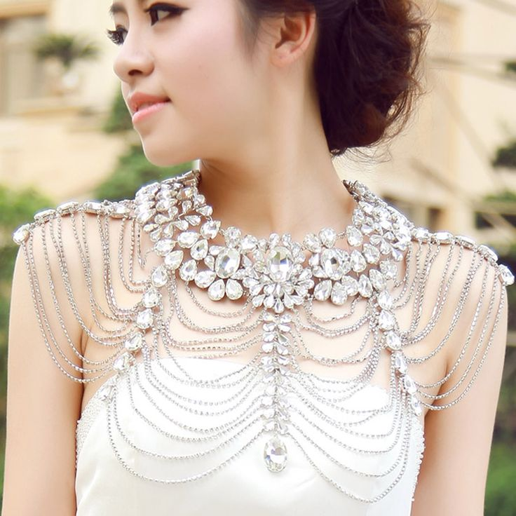 Fashion bride chain rhinestone cape shoulder strap tube top wedding dress luxury big crystal diamond necklace US $73.79