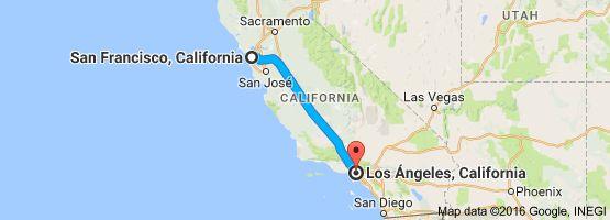 Mapa de San Francisco, California, EE. UU. a Los Ángeles, California, EE. UU.