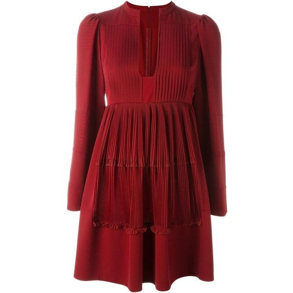 Valentino pleated A-line dress ($4,250) ❤ liked on Polyvore featuring dresses, red, a line dress, deep v-neck dress, long sleeve flare dress, red long sleeve dress and red silk dress