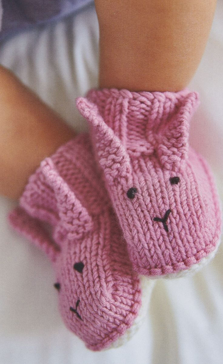 Knitted rabbit booties from my book, Knitted Animal Nursery, 2017