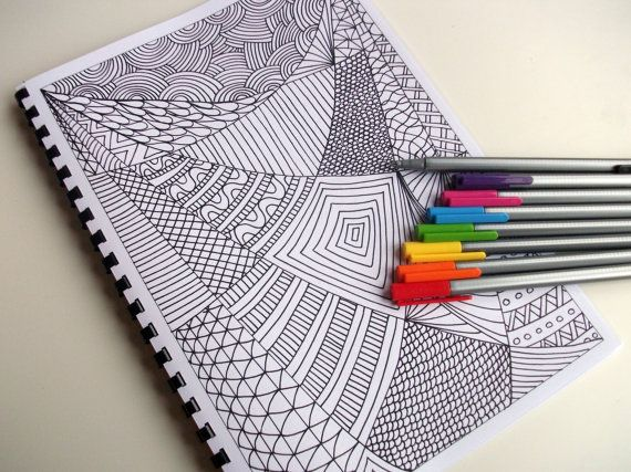 Printable Coloring Book, 12 Intricate Zentangle Inspired Coloring Patterns