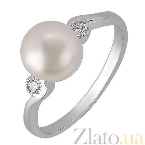 Серебряное кольцо с жемчугом и фианитами Руслана
