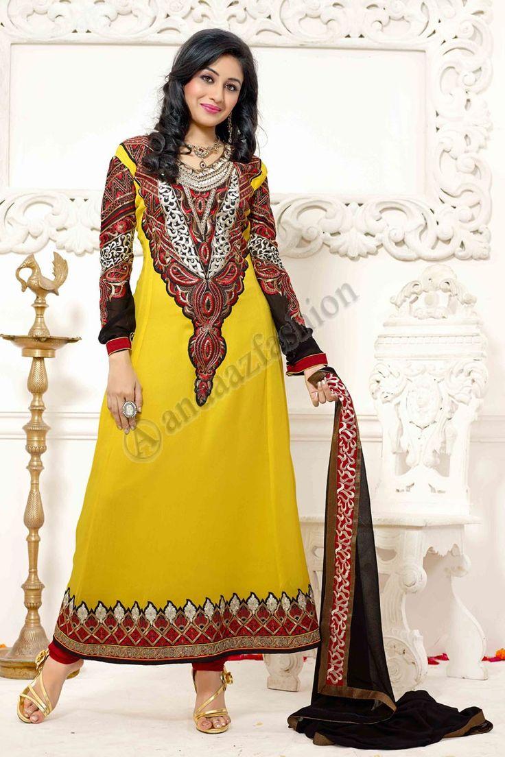 Yellow Georgette Anarkali Churidar Suit  Design No. DMV13132 Price:- £55.00 Dress Type:Anarkali Churidar Suit Fabric:Georgette Colour:             Yellow Embellishments: Stone, Zari, Zircon, Full Sleeve Kameez For More Details:- http://www.andaazfashion.co.uk/yellow-georgette-anarkali-churidar-suit-with-black-chiffon-dupatta-dmv13132.html
