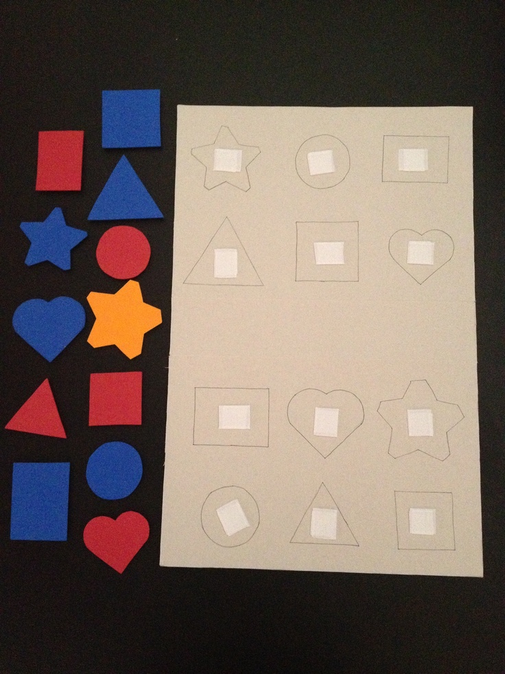 Matching shapes activity - I used an old cereal box, Velcro and shapes that I cut out from stuff I had in my arts and crafts.
