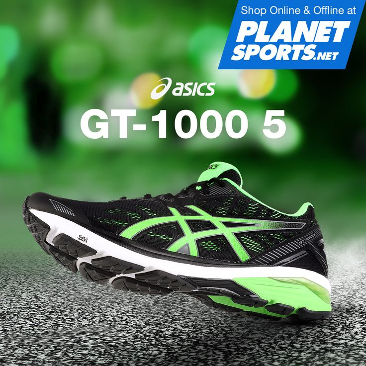 The GT-1000 5 shoe features our GEL Cushioning Technology for shock attenuation and a more comfortable stride. Mesh panels on the upper increase breathability and support across the forefoot, while cutting down on irritation and blistering caused by traditional overlays, keeping feet cool and comfortable so you can run longer with greater comfort.  Available at Planet Sports and shop online at www.planetsports.net