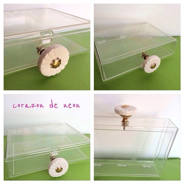 see through plastic clutch up cycled daisy drawer pull