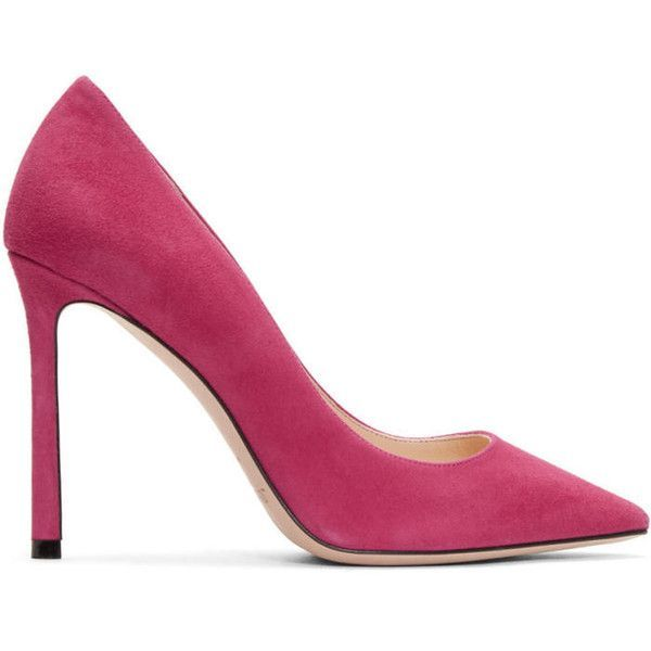Jimmy Choo Pink Suede Romy Heels ($545) ❤ liked on Polyvore featuring shoes, pumps, pink, pink suede shoes, suede leather shoes, pointed toe shoes, jimmy choo and jimmy choo shoes