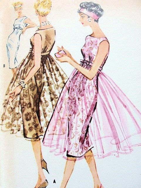 1950s McCalls 4747 Vintage Sewing Pattern Evening Cocktail Party Dress Empire Sheath With/ Without Overskirt Bateau Neck Alluring Design