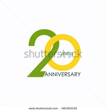 20 years anniversary, signs, symbols, which is yellow and green with flat design style