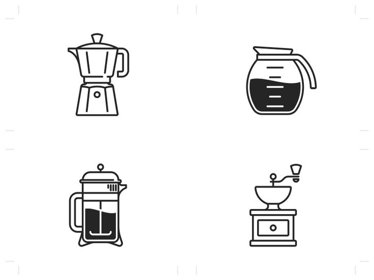 """Coffee Maker Icons from """"The good stuff is never instant"""""""
