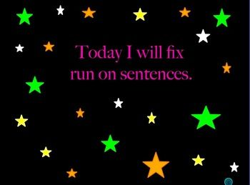 This is a nine page power point that takes students through steps to show how to fix run on sentences. Next, students are asked to choose sentences which are punctuated incorrectly.