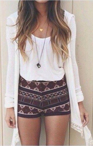 #summer #fashion / cardigan + shorts