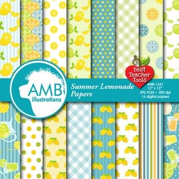16 Lemonade Papers in yellows and turquoises and teals! How refreshing this paper and background set is. Full of bright and bold Lemon patterns includes 16 beautiful lemon and lemonade themed papers perfectly coordinated with other papers; polka dot papers, chevron papers, striped paper, lemons, and so much more!