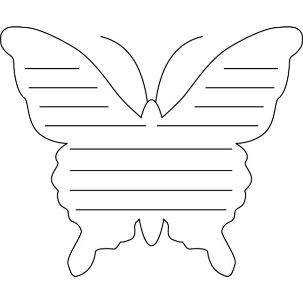 Butterfly Shape Page, Lined Coloring and Writing Paper for PreK Writers found on Polyvore