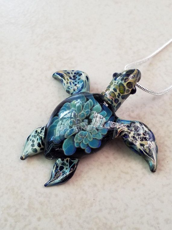 Stainless Steel Sea Turtle Jewelry Green Sea Glass Sea Turtle Necklace Beach Glass Sea Glass Jewelry Christmas Turtle Necklace