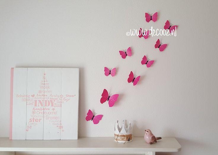 3D Vlinders DonkerRoze