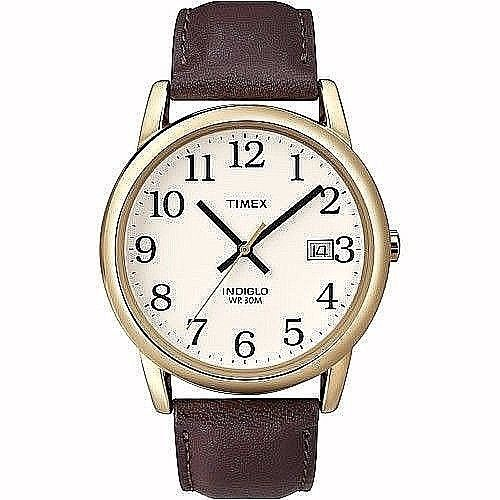 Timex Easy Reader Men's Analog Watch & Brown Leather Strap Classic New       #Timex