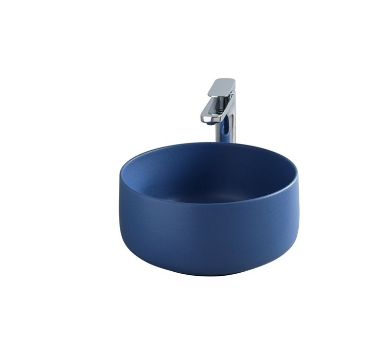 Cognac washbasin design Meneghello Paolelli Associati. Round shapes and very thin rims highlight the concepts of elegance and lightness, blue. countertop washbasin