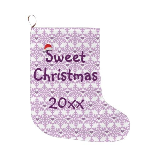 Snowflake heart pattern in purple-lavender color, Sweet Christmas Large Christmas Stocking - Custom date. #fomadesign