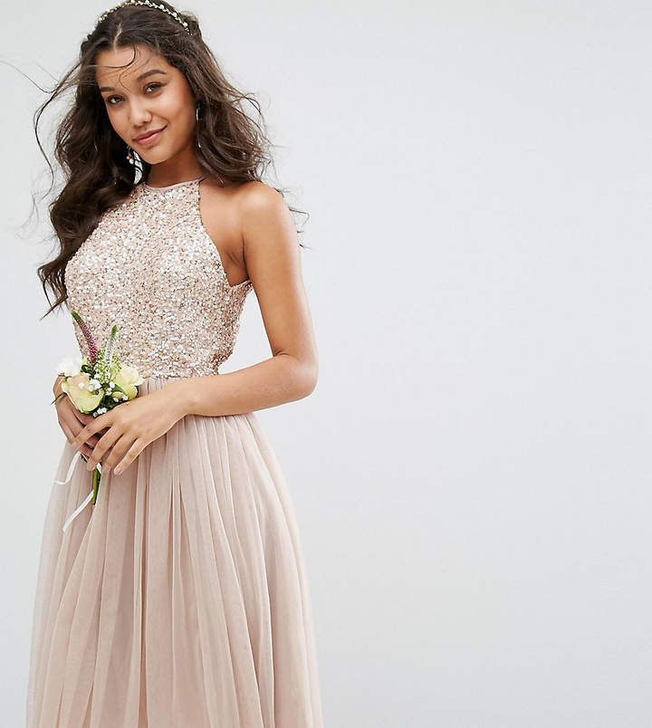 maya bridesmaid high neck midi tulle dress with tonal delicate sequins
