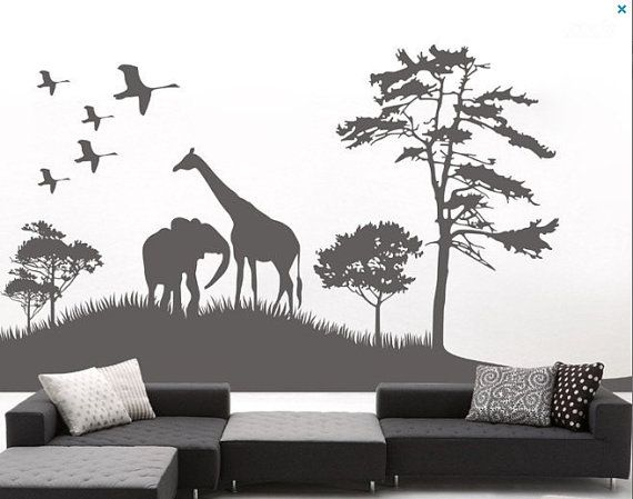 Best Nursery Images On Pinterest Animal Stencil Baby Room - Wall decals animalsafrican savannah wall sticker decoration great trees with