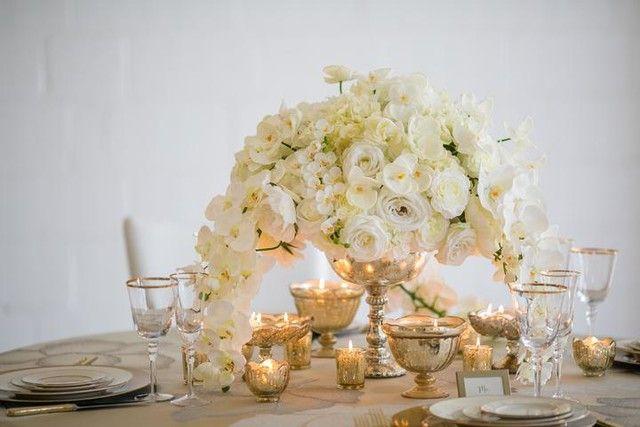 Vintage gold mercury glass vase wedding decorations