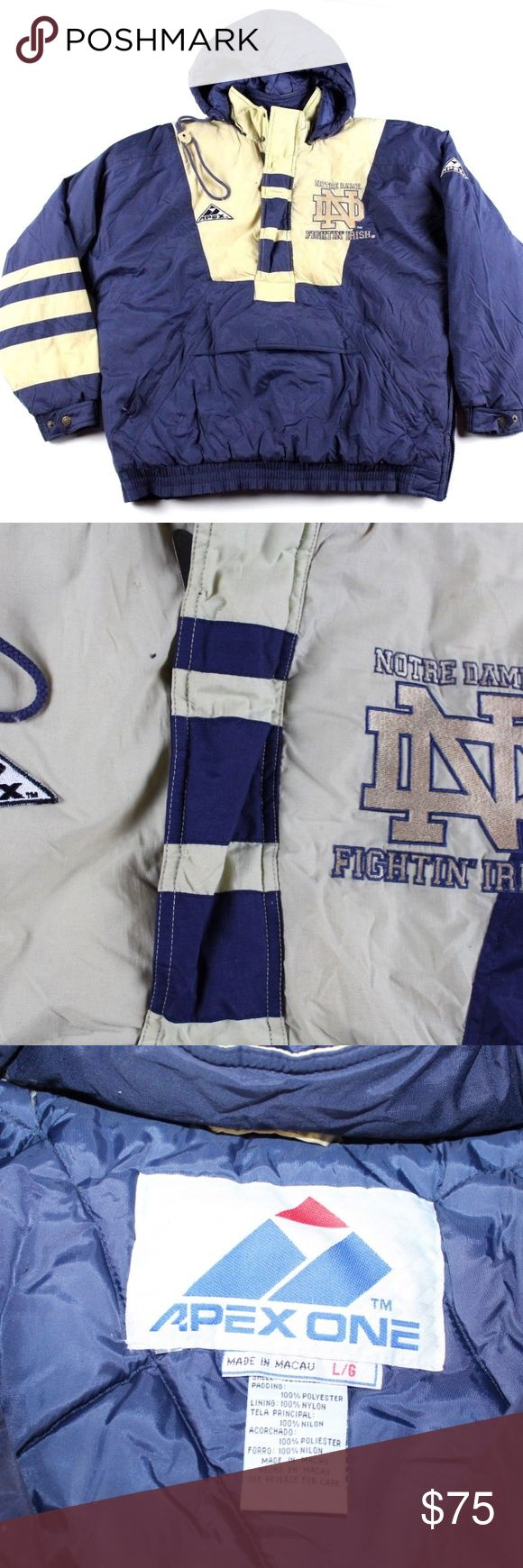 Vintage 90s Apex One Notre Dame Puffer Jacket Blue Vintage 90s Apex One Notre Dame Fightin Irish Puffer Jacket  Puffer jacket  Comes from a smoke-free household  The size is Large and the measurements are 27 inches underarm to underarm and 28 inches top to bottom  Nylon/Polyester  Blue and Gold Check out my other items in my store!  H9 Apex One Jackets & Coats Puffers