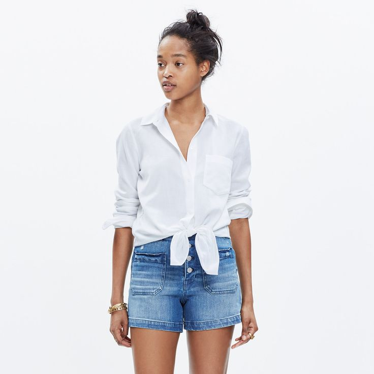 White Tie-Front Shirt : button-up & popover shirts | Madewell