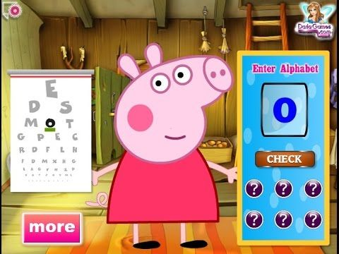 Peppa Pig has can't see well anymore and he decided to go to the doctor for an eye control. He is afraid that he might wear glasses from now on, but the doctors think that all he needs is to rest his eyes. Play this game and make sure that Peppa Pig will go through the eye tests very well.