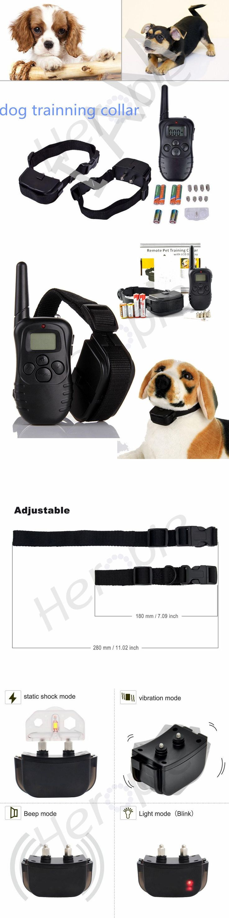 300 Meters 100LV Remote Electric Shock Anti-bark Vibra Pet Training Collar Control Trainer Aids With LCD Display For 1 or 2 Dogs