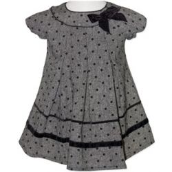 Classic grey dress with black spots and a black velvet bow and has a back zip opening.  Sizes 0, 1 & 2.