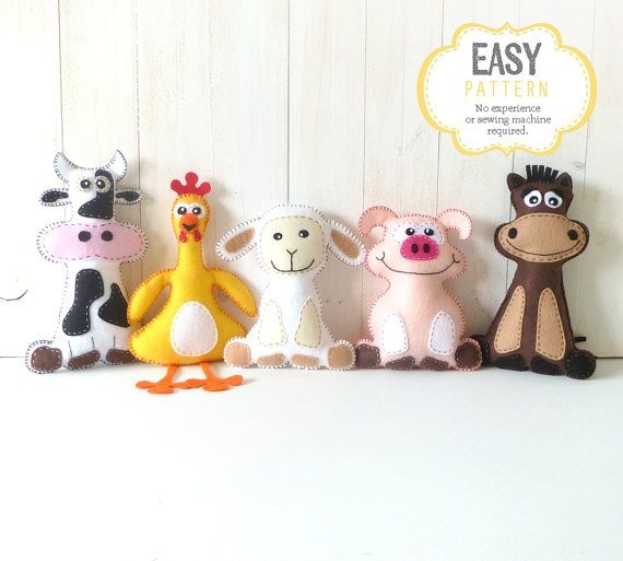 Felt Stuffed Barnyard Animal Patterns, Plush Cow, Chicken, Sheep, Pig & Horse, Easy Hand Sewing