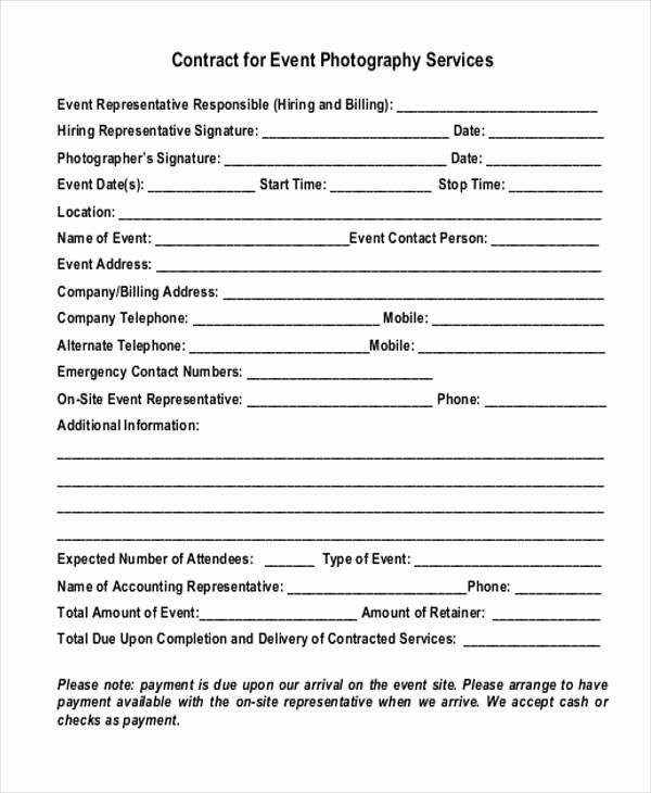 Event Photography Contract Template Best Of 7 Event Contract Form Samples Free Sample Example Photography Contract Contract Template Event Photography