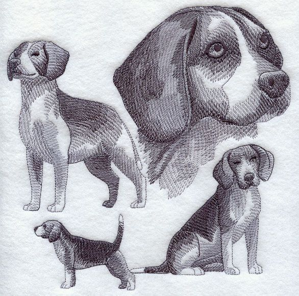 Beagle sketch dog rescue adopt pet  embroidered quilt block