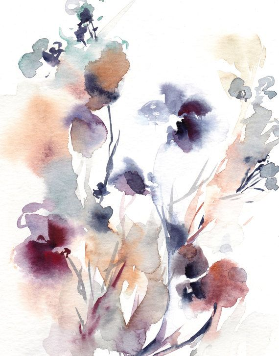 Abstract Flowers Watercolor Painting Art Print, Intuitive Abstract Watercolour Wall Art, Pale Blue