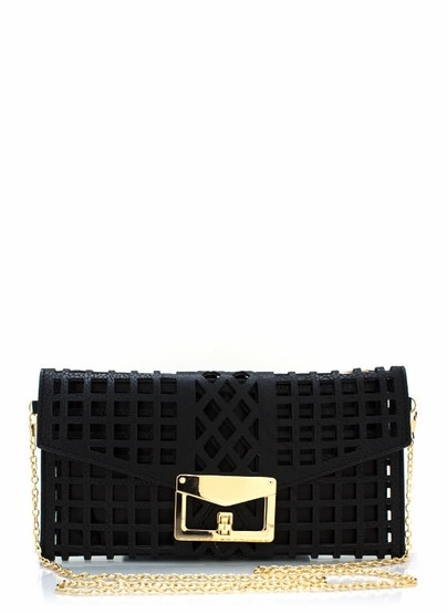 faux leather cage clutch