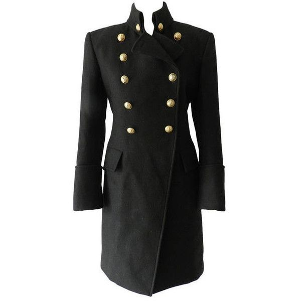 Pre-owned Balmain Military Coat (5,025 PEN) ❤ liked on Polyvore featuring outerwear, coats, jackets, clothes - outerwear, balmain, coats and outerwear, vintage cashmere coat, military coat, leather-sleeve coats and balmain coat