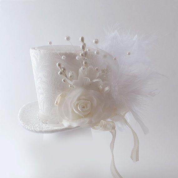 Burlesque, Wedding, Steampunk, Victorian,Bridal, Bachelorette, alice in wonderland, Mad Hatter, brocade wedding Mini Top Hat Ivory on Etsy, £26.87