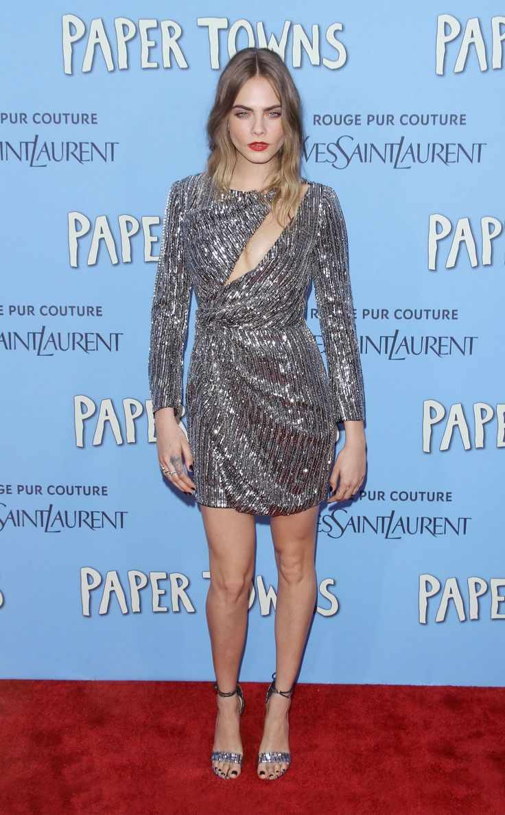 Cara Delevingne is a glitter goddess at the Paper Towns premiere.