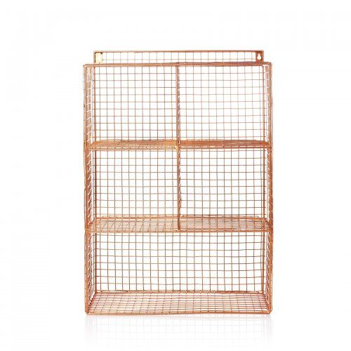 On trend, white or copper wire storage rack with clean lines and an industrial feel.