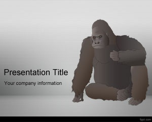 This is a free Gorilla PowerPoint template background with gray background color and nice gorilla vector design