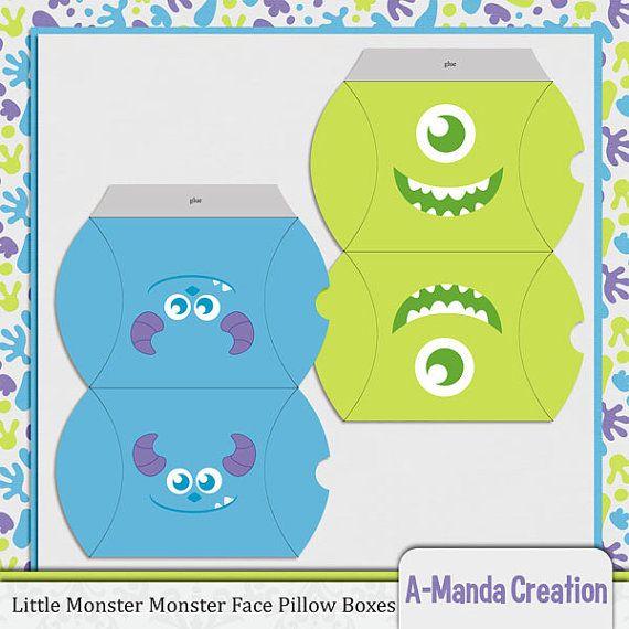 Little Monster Monster cara almohada caja Party por AmandaCreation, $4.00